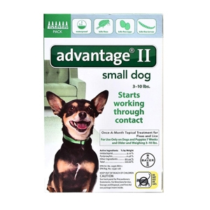 Advantage II for Dogs 1-10 lbs, Green, 6 Pack