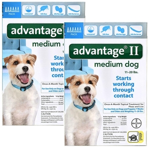 Advantage II for Dogs 11-20 lbs, Teal, 12 Pack