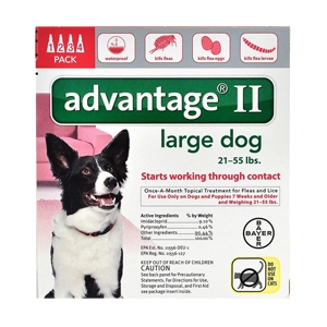 Advantage II for Dogs 21-55 lbs, 4 Pack (Red)