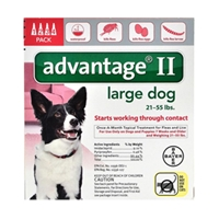 Advantage II for Dogs 21-55 lbs, Red, 4 Pack