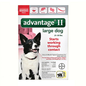 Advantage II for Dogs 21-55 lbs, Red, 6 Pack