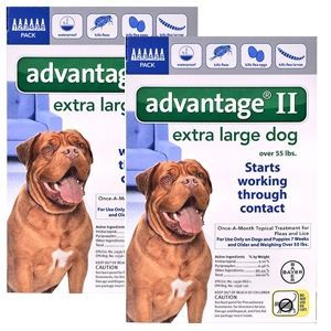 Advantage II for Dogs 55-100 lbs, Blue, 12 Pack