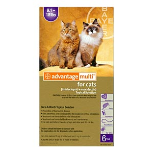 6 Pack Advantage Multi For Cats 9 12 Lbs 6 Month Purple