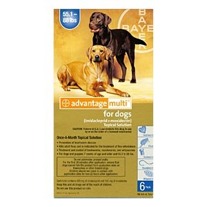 Advantage Multi for Dogs 55-88 lbs, 6 Pack (Blue)