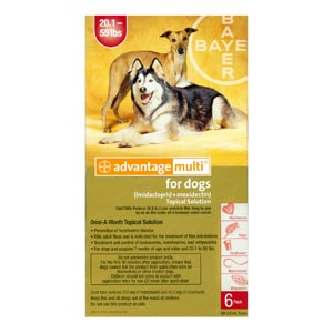 Advantage Multi For Dogs and Puppies 20-55 lbs, Red, 12 Pack