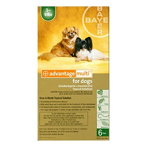 Advantage Multi For Dogs and Puppies 3-9 lbs, Green, 6 Pack