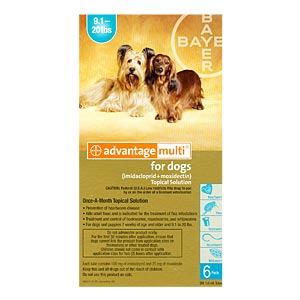 Advantage Multi For Dogs and Puppies 9-20 lbs, Teal, 12 Pack