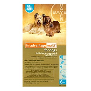 Advantage Multi for Dogs and Puppies 9-20 lbs, 6 Pack (Teal)
