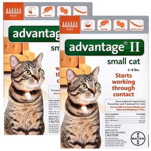 Advantage II for Cats 1-9 lbs, Orange, 12 Pack