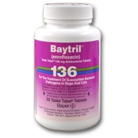 Baytril (enrofloxacin) 136 mg, 200 Taste Tablets