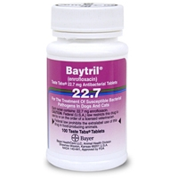 Baytril (enrofloxacin) 22.7 mg, 100 Taste Tablets
