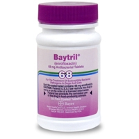 Baytril 68 mg, 50 Enteric Coated Tablets (enrofloxacin)