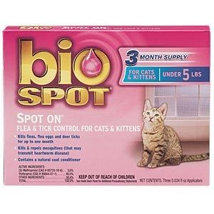 Bio Spot Spot On Flea & Tick Control for Cats and Kittens Under 5 lbs, 3 Pack