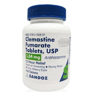 Clemastine Fumarate 1 34mg 100 Tablets Vetdepot Com