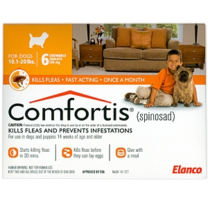 Comfortis 270mg for Cats 6.1-12 lbs & Dogs 10-20 lbs, 6 pack (Orange)