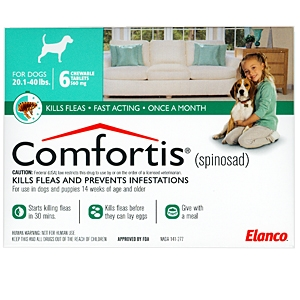 Comfortis 560mg for Cats 12.1-24 lbs & Dogs 20-40 lbs, 6 Pack (Green)