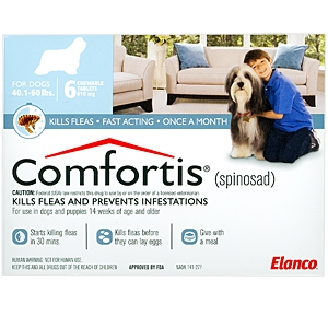 Comfortis 810mg for Dogs 40-60 lbs, 6 Pack (Blue)