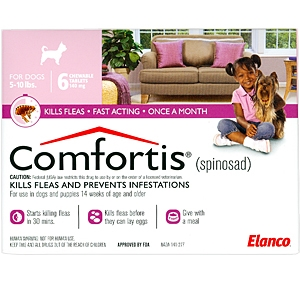 Comfortis 140mg for Cats 4.1-6 lbs & Dogs 5-10 lbs, 6 Pack (Pink)