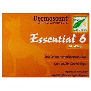 Dermoscent Essential 6 Spot-On Skin Care for Large Dogs 44-88 lbs (20-40 kg), 4 Tubes