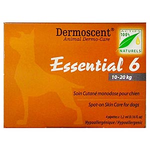 Dermoscent Essential 6 Spot-On Skin Care for Medium Dogs 22-44 lbs (10-20 kg), 4 Tubes