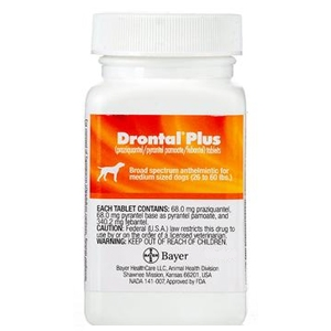 Drontal Plus for Dogs 2-25 lbs, 50 Tablets