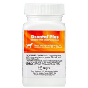 Drontal Plus for Dogs 45 lbs and Greater, 30 Tablets | 136 MG