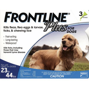 Frontline Plus for Dogs 23-44 lbs, Blue, 3 Pack