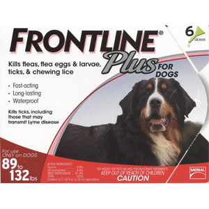 Frontline Plus for Dogs 89-132 lbs, Red, 6 Pack