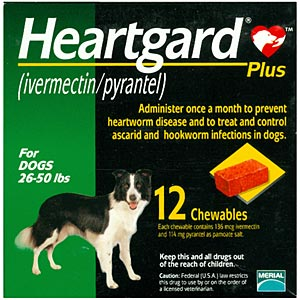 Heartgard Plus for Dogs, 26-50 lbs, Green, 12 Chewables