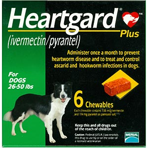Heartgard Plus for Dogs, 26-50 lbs, Green, 6 Chewables