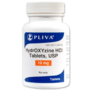Hydroxyzine HCL 10 mg, 500 Tablets