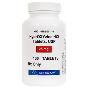 Hydroxyzine HCl 25 mg, 100 Tablets