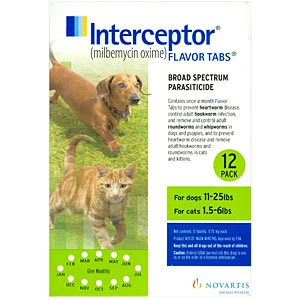 Interceptor for Cats 1.5-8 lbs and Dogs 11-25 lbs, Green, 12 Pack