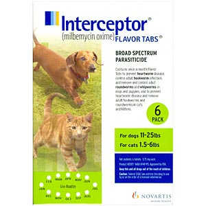Interceptor for Cats 1.5-8 lbs and Dogs 11-25 lbs, Green, 6 Pack