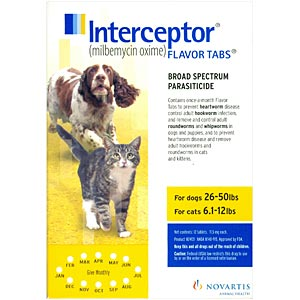 Interceptor for Cats and Dogs 26-50 lbs, 6.1-12 lbs, Yellow, 12 pack