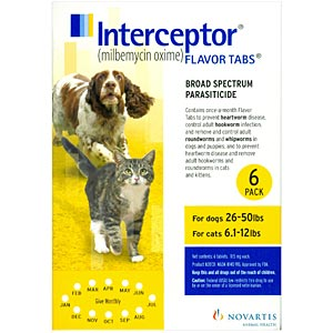 Interceptor for Dogs 26-50 lbs, Yellow, 6 Pack