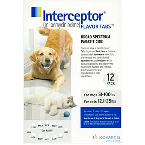 Interceptor for Dogs 51-100 lbs, White, 12 Pack