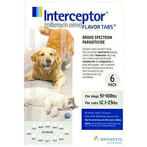Interceptor for Cats 12.2-25 lbs and Dogs 51-100 lbs, White, 6 Pack