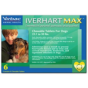 Iverhart Max for Dogs 25-50 lbs, Green, 6 Pack