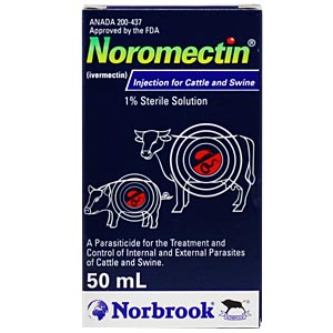 Ivermectin 1% [Noromectin] injection for cattle and swine, 50 mL