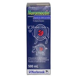 Ivermectin 1% [Noromectin] Injection for Cattle and Swine, 500mL