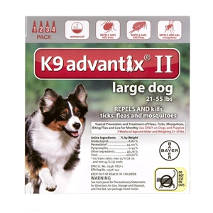 K9 Advantix II for Dogs 21-55 lbs, Red, 4 Pack