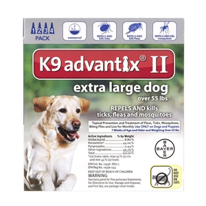 K9 Advantix II for Dogs over 55 lbs, Blue, 4 Pack