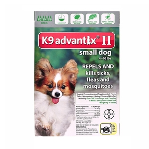 K9 Advantix II for Dogs up to 10 lbs, Green, 6 Pack