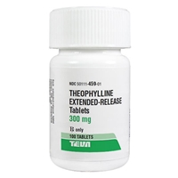 Theophylline Extended-Release 300 mg, 100 Tablets theophylline extended-release 300mg 100 tablets bronchodilator treatment heart failure pulmonary edema bronchial asthma chronic obstructive disease licensed veterinarians pharmacies quantity pricing <b\> petmeds