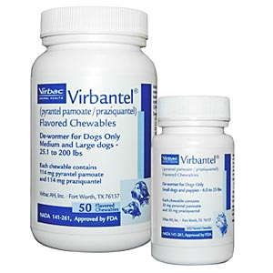 Virbantel Chewable Tablets for Medium/Large Dogs, 50 Tablets