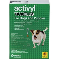 Activyl Tick Plus for Dogs and Puppies, Over 11 lbs - 22 lbs 6 Month Supply Activyl, Tick Plus, Dogs, Puppies, Over 11 lbs-22 lbs, 6 Month Supply