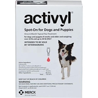 Activyl Spot-On for Dogs and Puppies, Over 22 lbs - 44 lbs 6 Month Supply Activyl, Spot-On, Dogs, Puppies, Over 22 lbs-44 lbs, 6 Month Supply