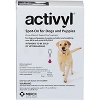Activyl Spot-On for Dogs and Puppies, Over 44 lbs - 88 lbs 6 Month Supply Activyl, Spot-On, Dogs, Puppies, Over 44 lbs - 88 lbs, 6 Month Supply