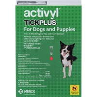 Activyl Tick Plus for Dogs and Puppies, Over 22 lbs - 44 lbs 6 Month Supply Activyl, Tick Plus, Dogs, Puppies, Over 22 lbs-44 lbs, 6 Month Supply